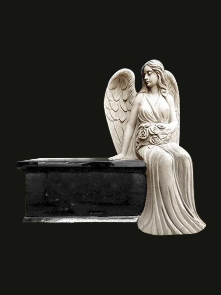 Sitting angel tombstone