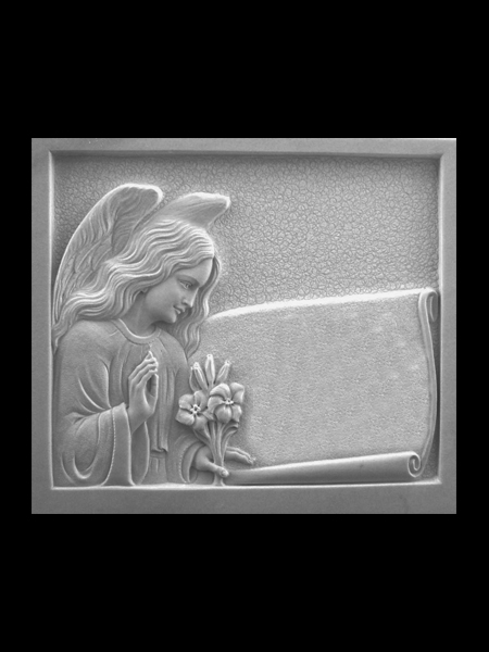 Angel holding flowers marble headstone