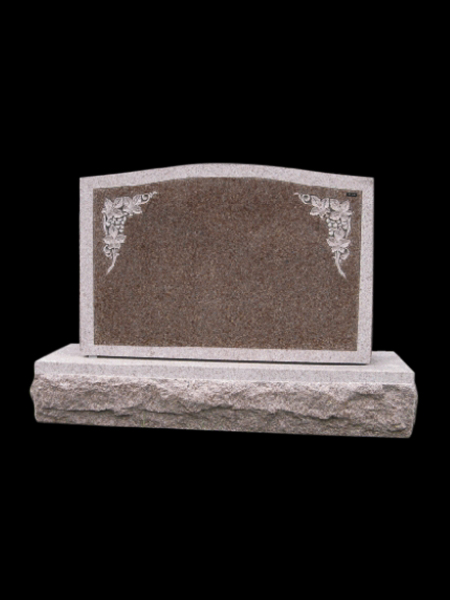Red granite traditional headstone
