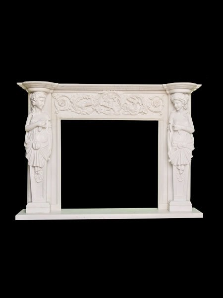 Classic Young Girl Stone Fireplace