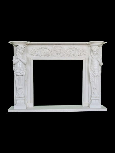 Classic Young Girl Marble Fireplace