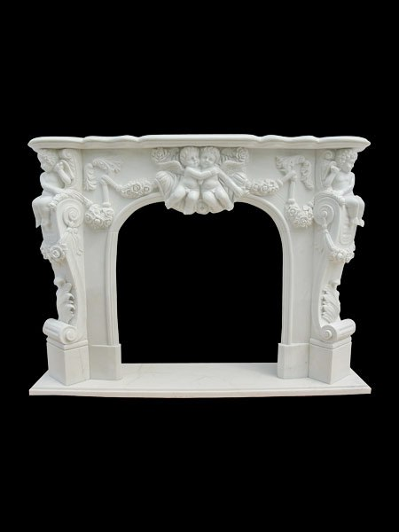 Boy Angel Stone Fireplace Surround