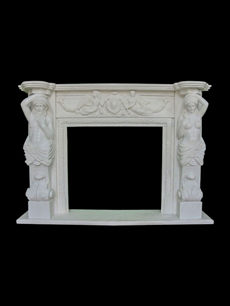 Classic Man and Woman Marble Fireplace