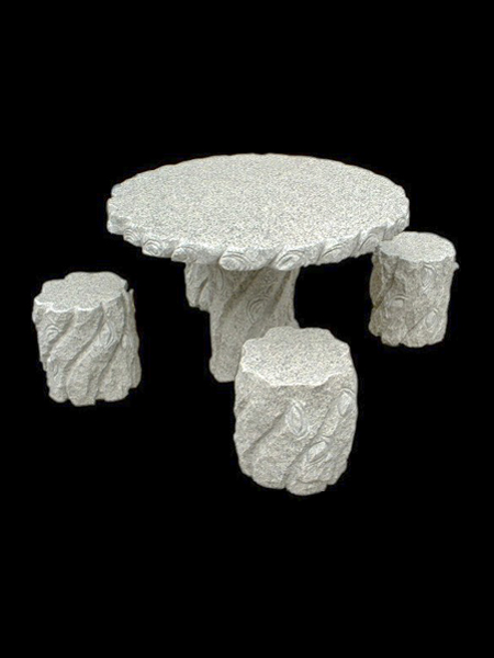 Garden Granite Round Table and Chairs