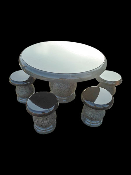 Black Granite Round Table and Stools