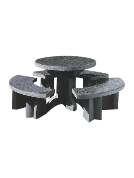 Outdoor Granite Round Table and Benches