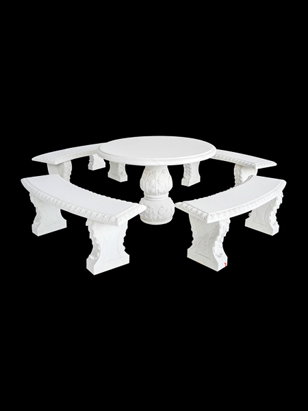 White Marble Round Table and Benches