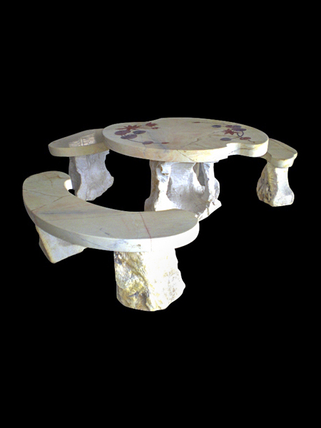Garden Marble Decorative Table and Benches