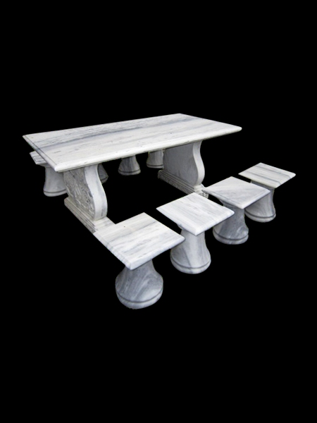 Rectangular Stone Table and Chairs
