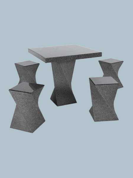Square Granite Table and Chairs