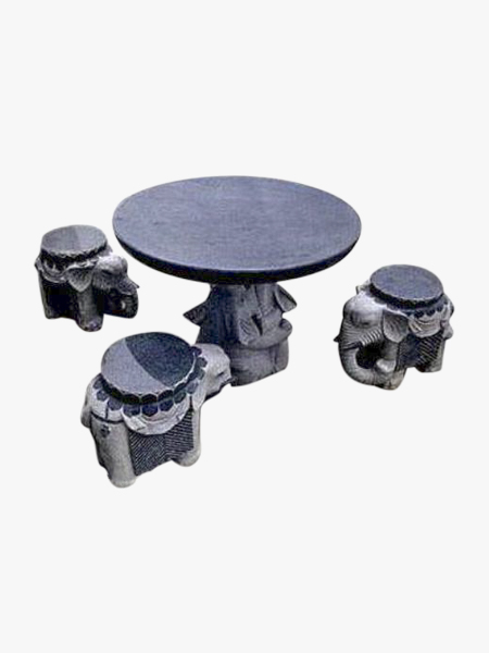 Round Granite Table and Elephant Chairs