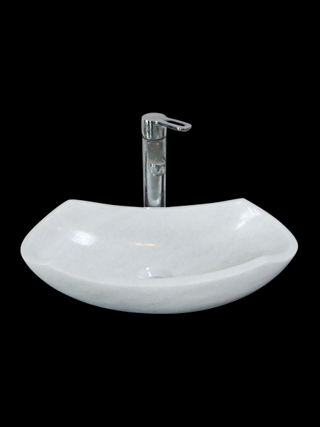 Curved White Marble Basin
