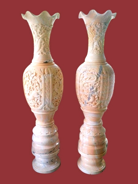 Decorated Yellow Marble Vase