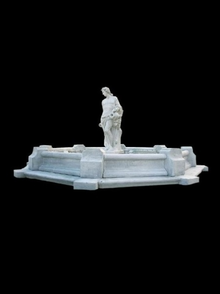 Large octagon stone fountain pool with man statue