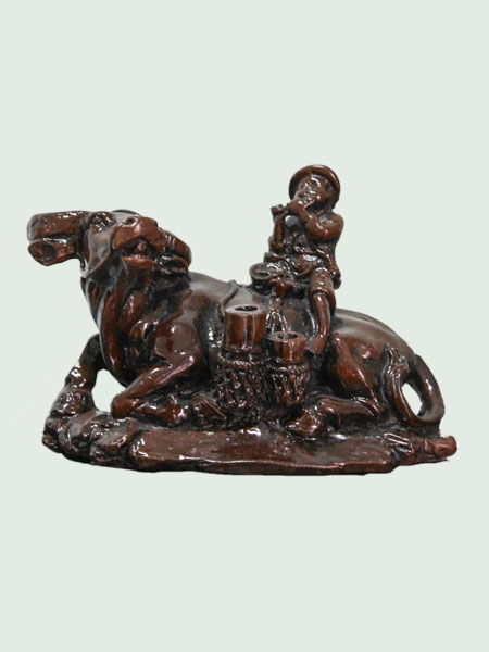 Fluting Boy on Lying Buffalo Resin Figurine