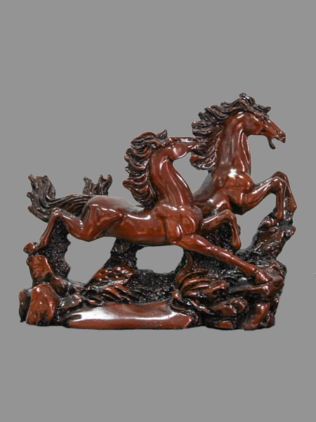 Two Running Horse Resin Statue