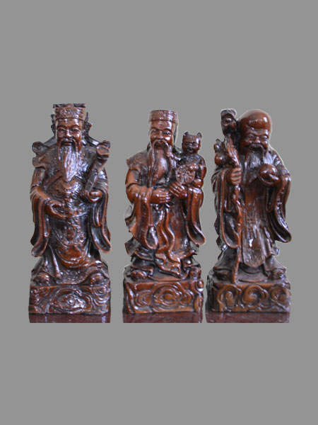 Luck, Happiness, Longevity Gods Resin Figurine