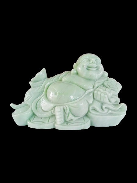 Lying Happy Buddha Green Marble Statue