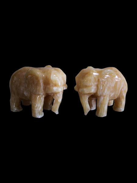 Mini Elephant Yellow Onyx Statue