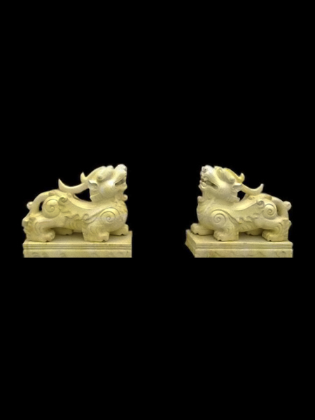 Dragon - Dog Yellow Marble Statue