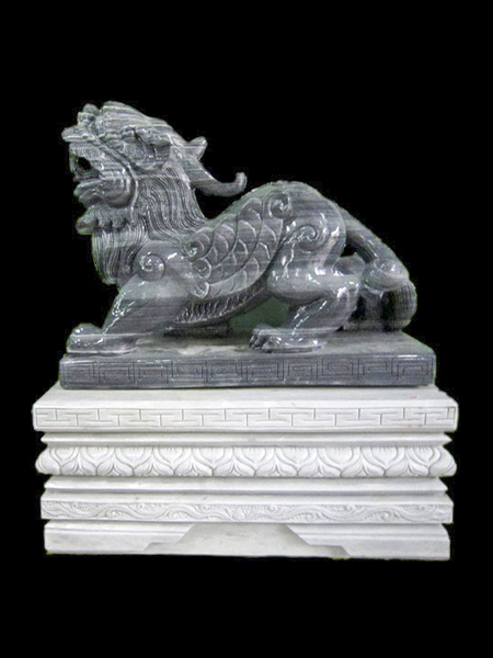 Dragon - Dog Black Marble Statue