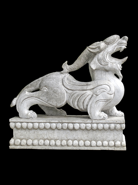 Dragon - Dog White Grey Marble Statue
