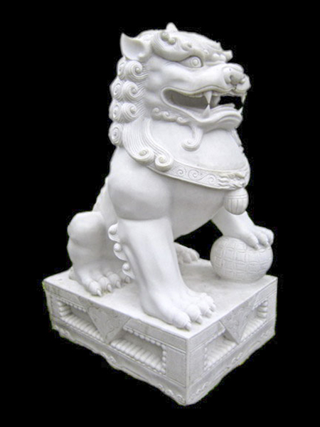 Foo - Dog White Marble Statue
