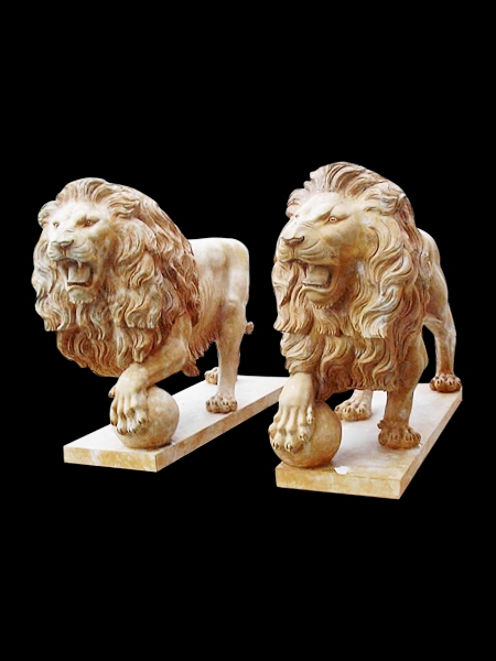 Lion Yellow Marble Statue