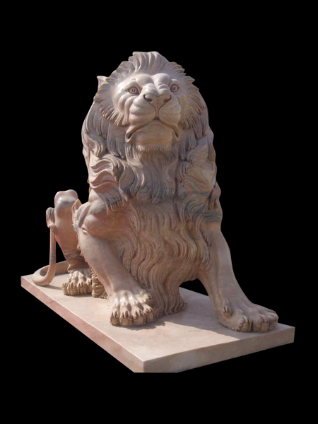 Sitting Lion Yellow Marble Statue