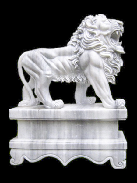 Lion White Grey Marble Statue