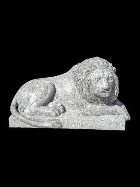 Lying Lion White Granite Statue
