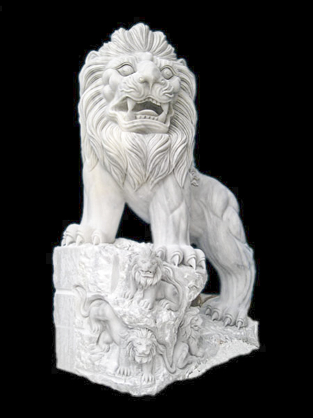 Lion & Its Baby White Marble Statue