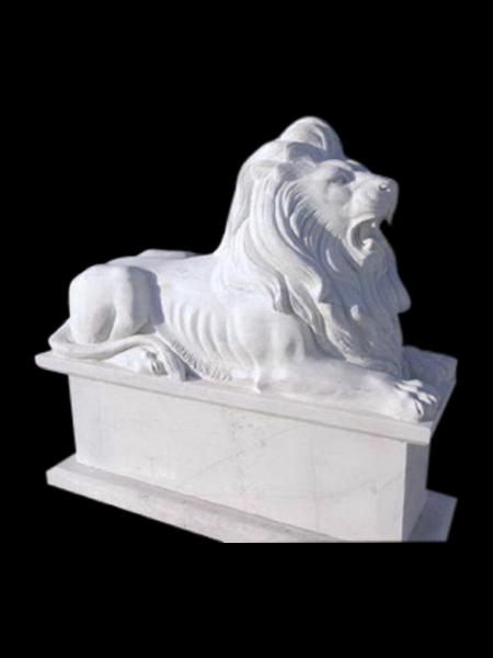 Lying Lion White Marble Statue