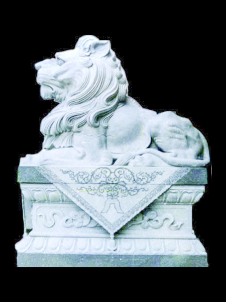 Lying Lion White Grey Marble Statue