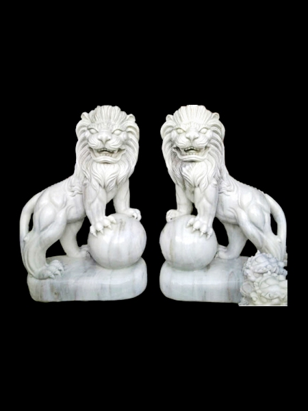 Lion Playing Ball Marble Statue
