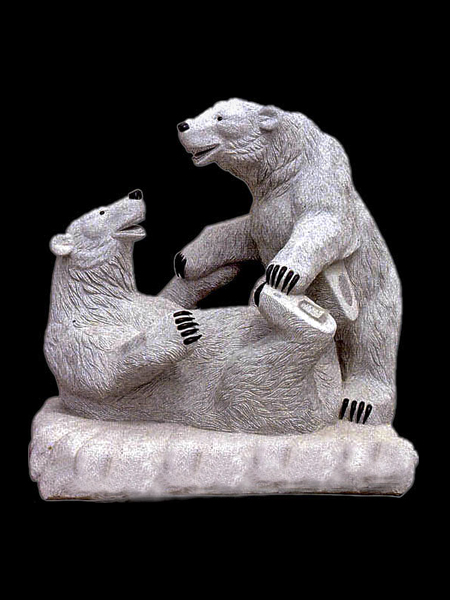 Two Bear Grey Marble Statue
