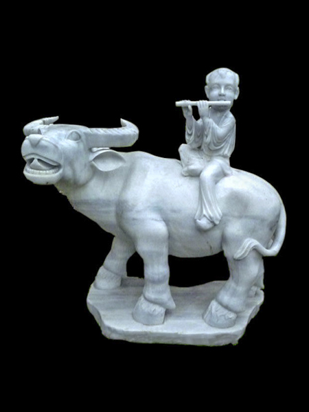 Fluting Boy on Buffalo Marble Statue