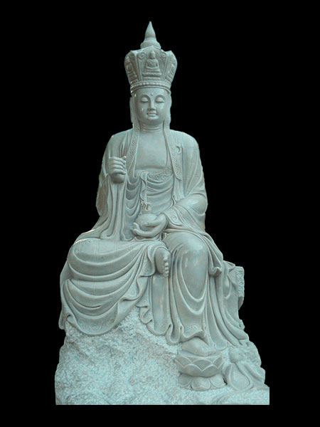 Sitting Ksitigarbha Bodhisattva Buddha Stone Statue