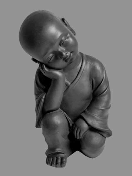 Kneeling and Sleeping Little Buddhist Novice Stone Statue DSF-P71