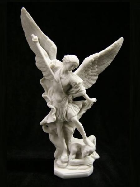 archangel michael conquering satan marble statue