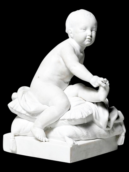 Baby Playing on Pillow Stone Statue DSF-EB44