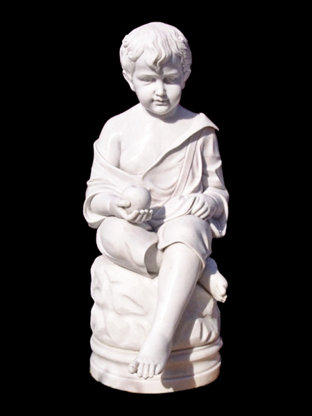 Seated Boy with Apple Stone Statue DSF-EB27