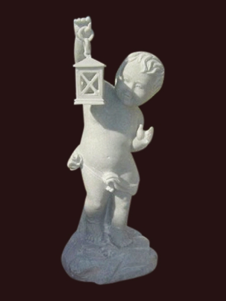 Boy with Lamp Stone Statue DSF-EB45