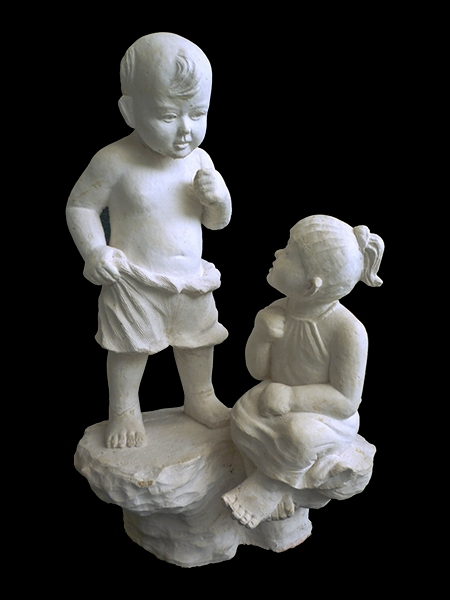 Little Boy and Girl Garden Stone Statue DSF-EB14
