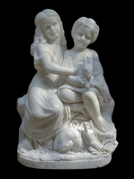 Sister and Brother with Rabbits Stone Statue DSF-EB04