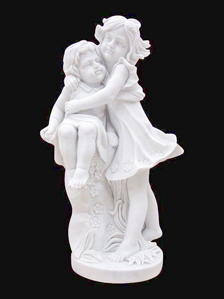 Baby Sister and Brother Hugging Stone Statue DSF-EB11