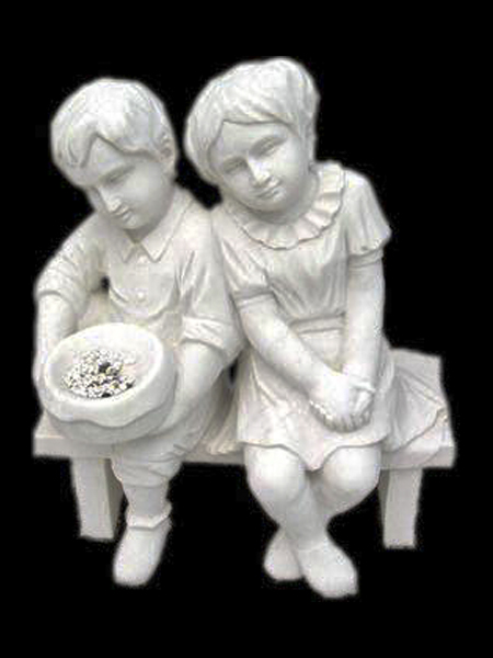 Little Boy and Girl on Bench Stone Statue DSF-EB05