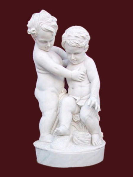Two Little Boy Playing Garden Stone Statue DSF-EB43