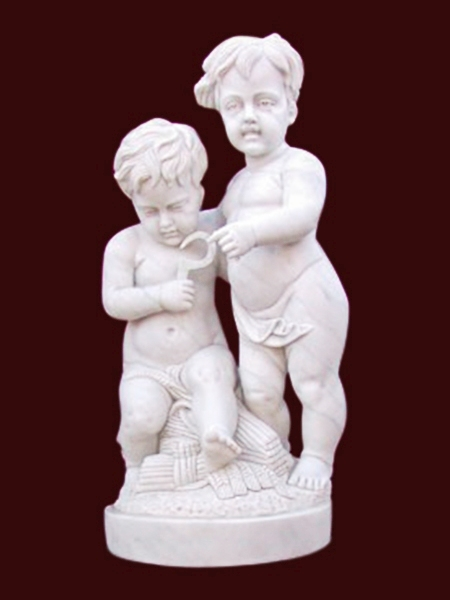 Two Little Boy Harvesting Garden Stone Statue DSF-EB51