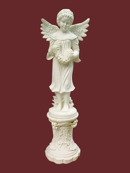 Little Girl Angel With Wreath Of Daisy Stone Statue Dsf Eb78